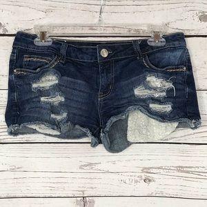 Vanilla Star Jean Shorts Low-Rise Distressed
